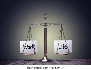 Work life balance scales business and family lifestyle choice