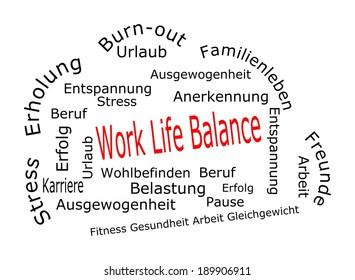 Work Life Balance wordcloud - in german