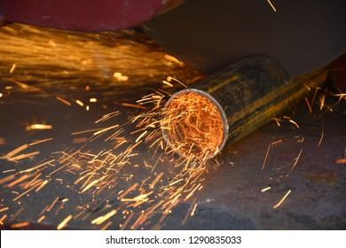 work in metal industry pipe cutting