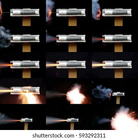 Work of the model rocket engine in the section. Fuse is lit with sparks and smoke. Black powder rocket motor.