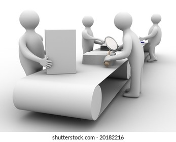 Work on the conveyor. 3D image. Isolated illustrations
