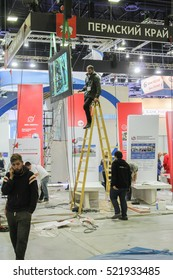 Work on the debugging monitor. St. Petersburg, Russia - 2 October, 2016. Construction and preparation work for the St. Petersburg Gas Forum.