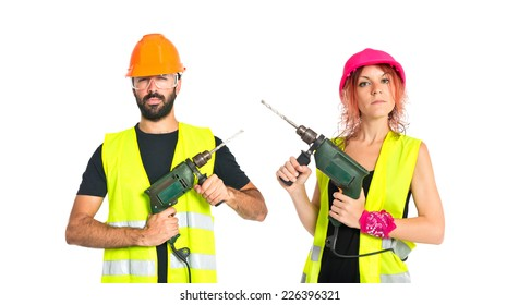 Work people with drill over white background