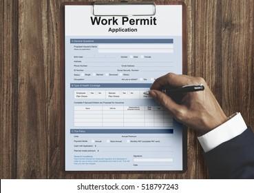 Work Permit Application Job Employment Concept