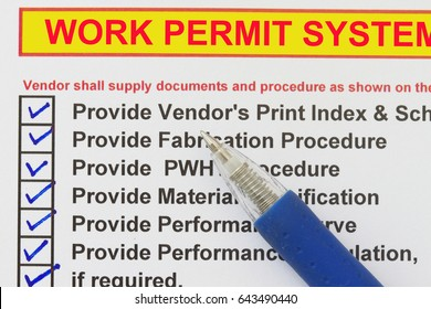 Work Permit System  checklist- many uses in the oil and gas industry.