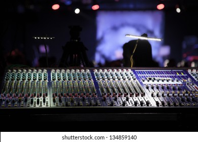 work place sound engineer's. mixing console.
