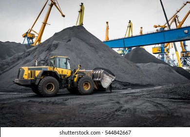 Work in port coal transshipment terminal.