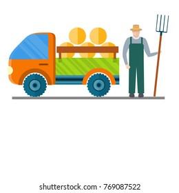 Work poster with car carrying hay in a trailer and gardener with pitchfork nearby . Auto for transportation haystacks,  illustration