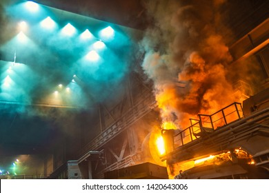 work process in metallurgical engineering at manufactory of steel plant
