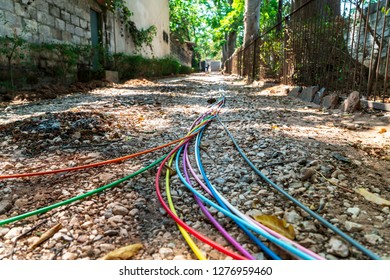 Work in progress, fibre optic cables are spread out to be put in the ground