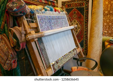 Work in progress Turkish carpets being woven in Istanbul, Turkey.
