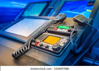Work with a radio station. Providing communication. Radio station at the enterprise. Professional radio stations. The wireless station on the ship. Radiocommunication.