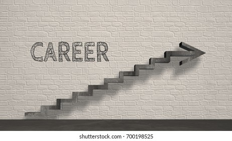 Work, rise, career, succes, occupation, business symbol - 3d render