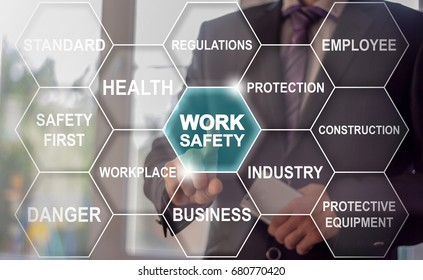 Work Safety Business Industry Work Tag Cloud concept. Man presses button work safety word button on virtual screen.