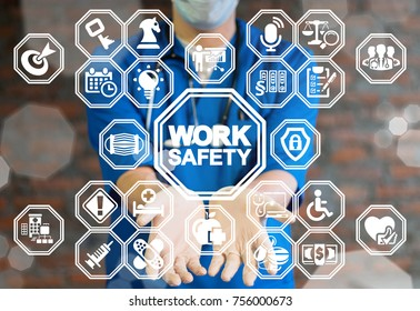 Work Safety Medicine concept. Safe Health, Security Workplace. Medical worker using virtual interface offers work safety text icon.