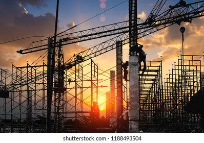 Work Safety officer or Civil Engineer. team worker on background of construction site,copy space.