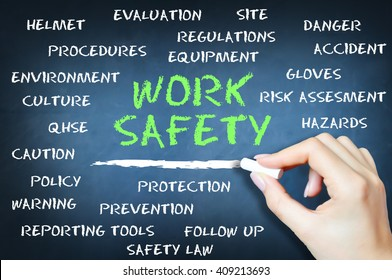 Work safety to prevent accidents concept with human hand writing on blackboard with chalk