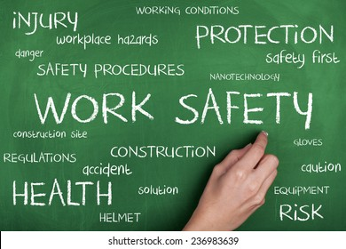 Work Safety Word Cloud / Safety First in Construction Area