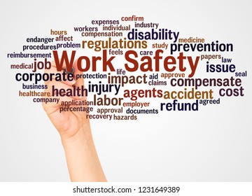 Work Safety word cloud and hand with marker concept on white background.