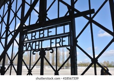work sets you free sign on gates at Dachau Concentration Camp