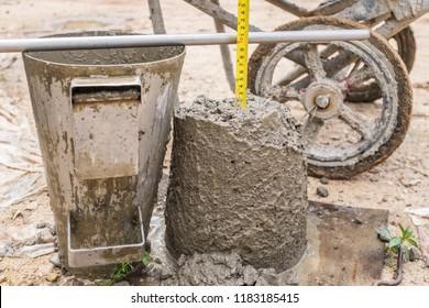Work site slump test measuring close up