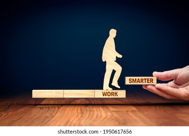 Work smarter motivation concept. Personal development, boost productivity and efficiency concept with wooden pieces. Coach (manager, mentor) motivate to work smarter.