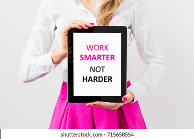 Work smarter not harder, quote on tablet