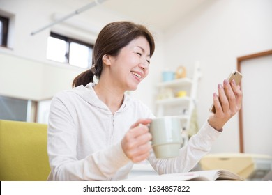 Work space for Japanese housewife, smartphone