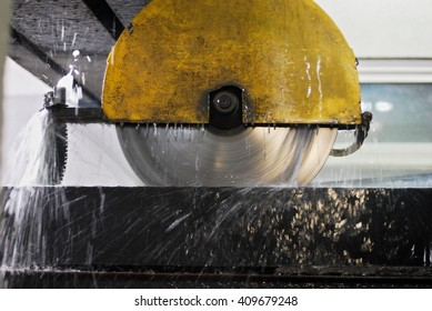 Work in stone factory with machines