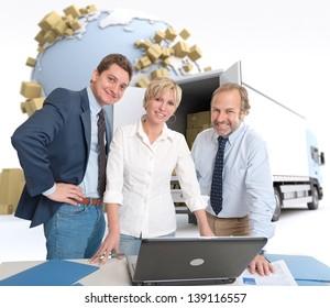 Work team around a computer in an international transportation context