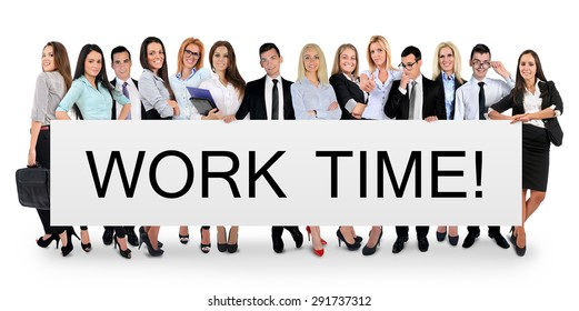 Work time word writing on white banner