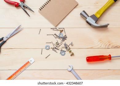work tools on wood background