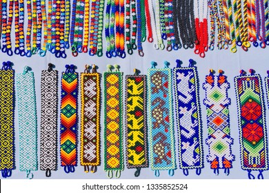 Work and traditions of art Huichol north of Jalisco Mexico.