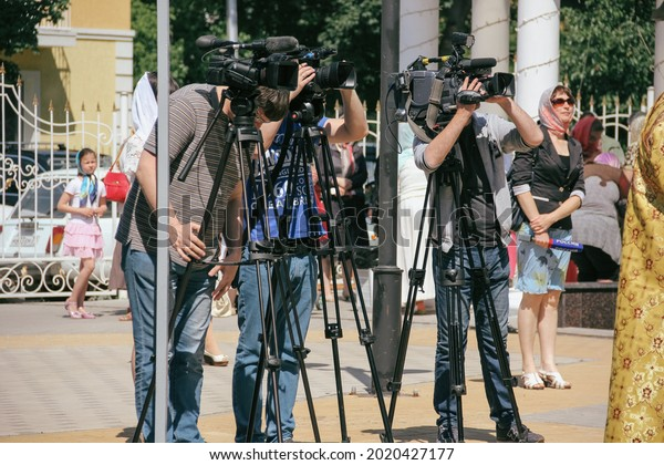 The work of videographers, the process of videography. June 7, 2017, Belgorod, Russia
