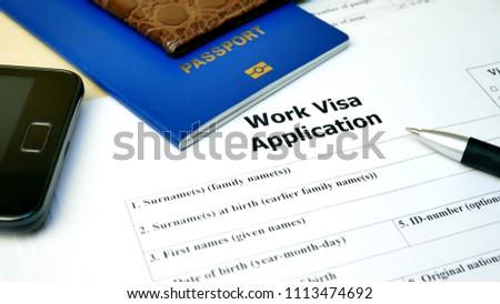 Work Visa Application Form Passport Pen Stock Photo Edit Now