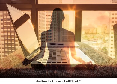At work wellbeing, focus, mind and concentration concept.  Stress free work environment. Peaceful office setting. Double exposure