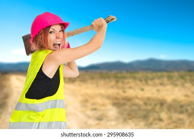 Work woman with ax