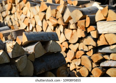 work with wood - before winter time and heating season - wooden background