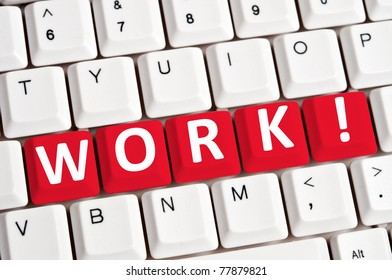 Work word on white keyboard