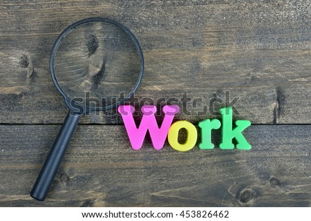 work word on wooden table stock photo edit now 453826462