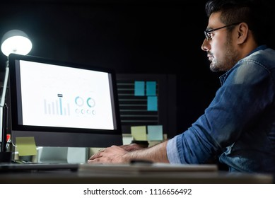 Workaholic Asian man staying overtime late at night in the office focusing on working with computer at his desk