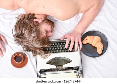 Workaholic fall asleep. Man with typewriter sleep. Deadline concept. Worked all night. Man fall asleep. Writer used old fashioned typewriter. Author tousled hair fall asleep while write book.