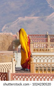 Worker of Amber fort in Jaipur in beautiful sari