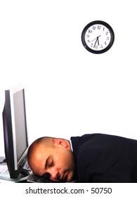 Worker asleep on his keyboard
