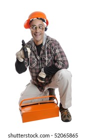 Constructor worker with big glasses isolated in white