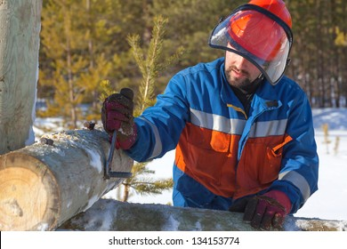 Worker in blue overalls mounts support the power lines on the background of the winter forest