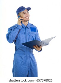 The worker in a blue overalls Working posture at work on white background