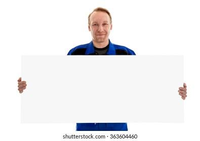 The worker in blue uniform holding blank sign billboard, isolated on white
