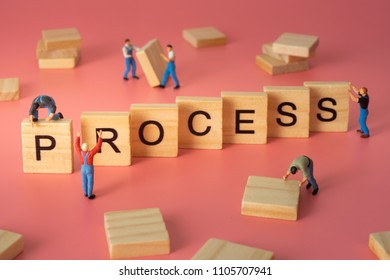 Worker build up word of process. Concept of business process.