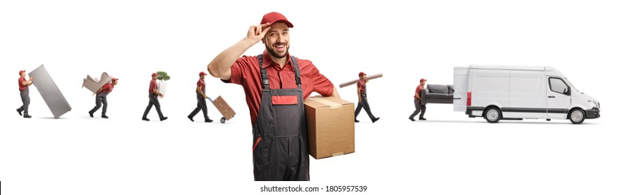 Worker carrying a box and greeting and men putting household items in a white van isolated on white background